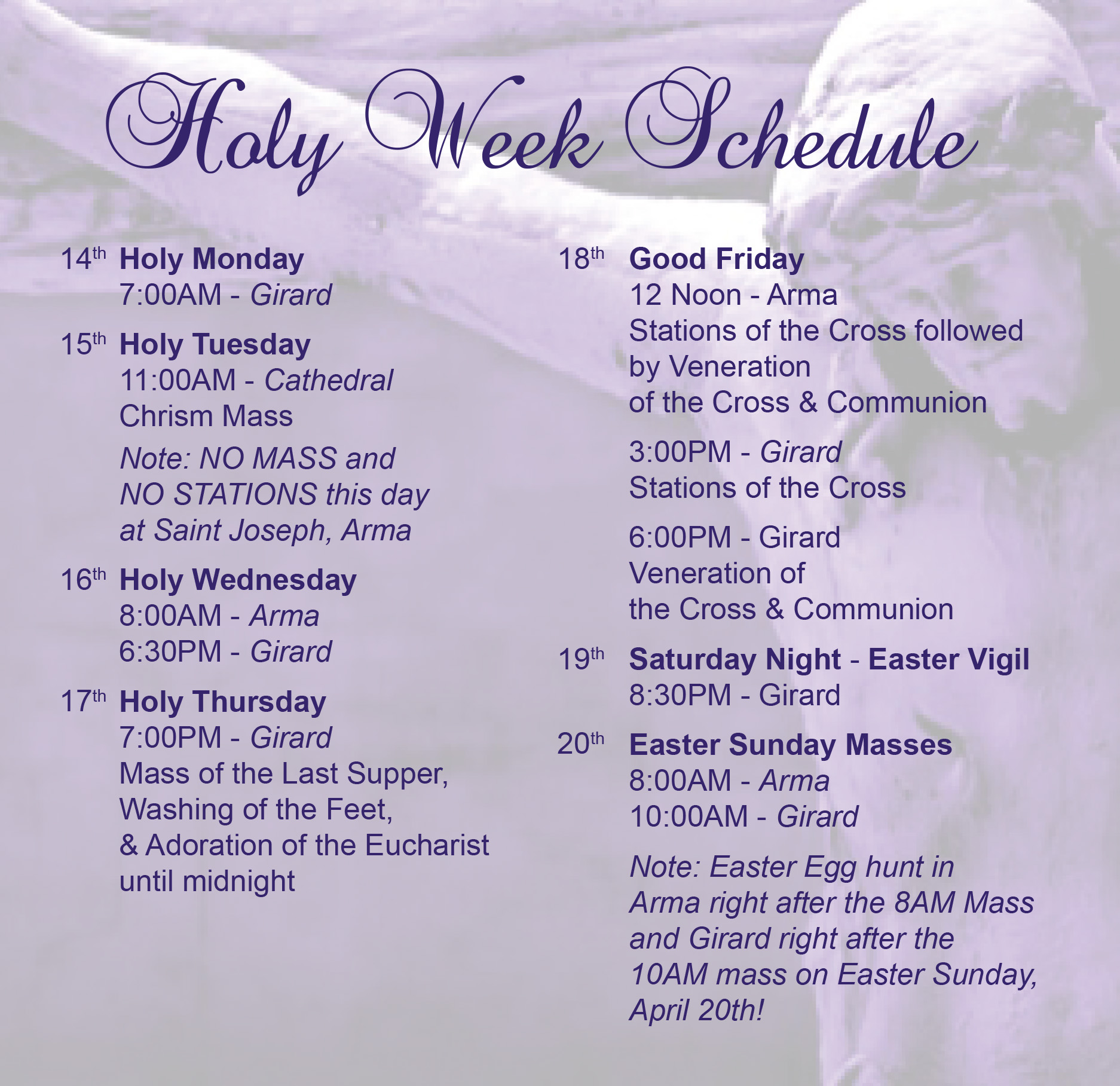 21014 holy week schedule